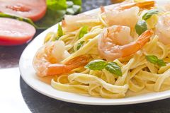 Shrimp Fettuccini Alfredo Stock Images