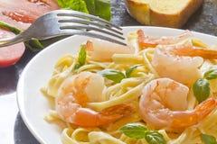 Shrimp Fettuccini Alfredo Stock Photo