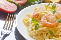 Shrimp Fettuccini Alfredo Royalty Free Stock Photography