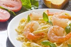 Shrimp Fettuccini Alfredo Royalty Free Stock Images