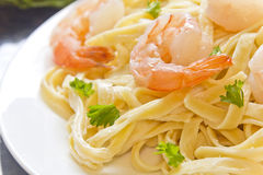 Shrimp Fettuccini Alfredo Stock Photos