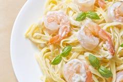 Shrimp Fettuccini Alfredo Royalty Free Stock Photos