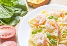 Shrimp Fettuccini Alfredo Royalty Free Stock Photo