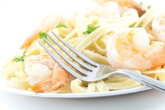 Shrimp Fettuccini Alfredo Stock Image
