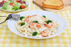 Shrimp Fettucini in Alfredo Sauce Stock Photo