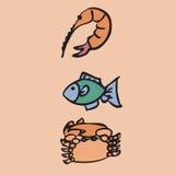 Shrimp fish crab. Seafood menu Stock Image