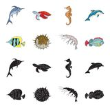 Shrimp, fish, hedgehog and other species.Sea animals set collection icons in black,cartoon style vector symbol stock. Illustration vector illustration