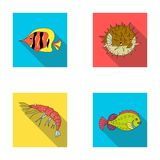 Shrimp, fish, hedgehog and other species.Sea animals set collection icons in flat style vector symbol stock illustration.  royalty free illustration