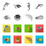 Shrimp, fish, hedgehog and other species.Sea animals set collection icons in monochrome,flat style vector symbol stock. Illustration royalty free illustration
