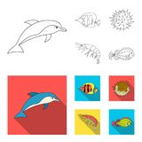 Shrimp, fish, hedgehog and other species.Sea animals set collection icons in outline,flat style vector symbol stock. Illustration royalty free illustration