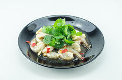 Shrimp in fish sauce,hot and spicy. On the white background Stock Image