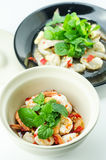 Shrimp in fish sauce,hot and spicy. On the white background Royalty Free Stock Photo