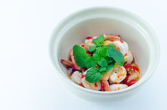 Shrimp in fish sauce,hot and spicy. On the white background Royalty Free Stock Photography