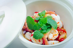 Shrimp in fish sauce,hot and spicy. On the white background Stock Photo