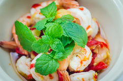 Shrimp in fish sauce,hot and spicy. On the white background Stock Images