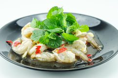 Shrimp in fish sauce,hot and spicy. On the white background Stock Photos