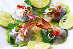 Shrimp in fish sauce Thai sea food Stock Photos