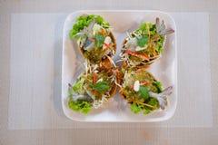 Shrimp in fish sauce on white dish Royalty Free Stock Photos