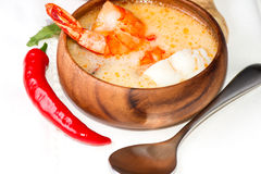 Shrimp and fish soup Thai traditional food Royalty Free Stock Photos