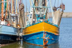 Prawn fishing boat in Dutch harbor Lauwersoog stock photography