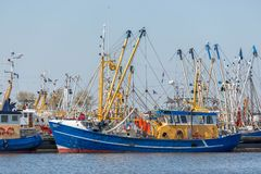 Prawn fishing boats in Dutch harbor Lauwersoog stock images
