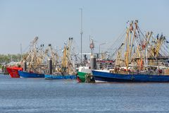 Prawn fishing boats in Dutch harbor Lauwersoog stock image