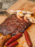 Shrimp, Flank Steak and Sausage Stock Photo