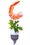 Shrimp on  fork Stock Photo