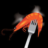 Shrimp with fork vector Stock Image