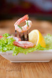 Shrimp with fresh salad Stock Image