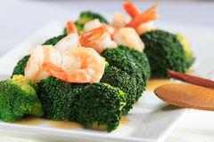 Shrimp Fried Broccoli broccoli. With oyster sauce Royalty Free Stock Images