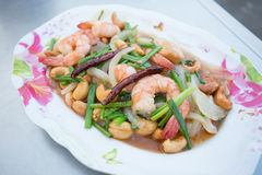 Shrimp fried with cashews Stock Photos