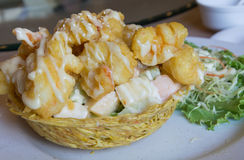 Shrimp fried with cream salad Royalty Free Stock Photos