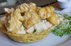 Shrimp fried with cream salad Royalty Free Stock Photos