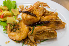 Shrimp is fried. Shrimp fried on dish for special menu Royalty Free Stock Photo