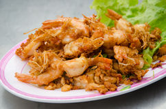 Shrimp fried with garlic. Of food thailand Royalty Free Stock Photo