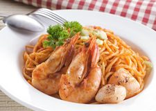 Shrimp fried noodles Stock Image