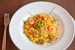 Shrimp fried noodles Royalty Free Stock Photos