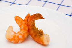 Shrimp fried in oil laid out Stock Images