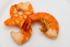 Shrimp fried in oil laid out Royalty Free Stock Photo