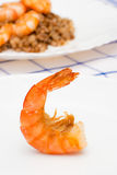 Shrimp fried in oil laid out on a white plate. Royalty Free Stock Photos