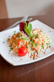 Shrimp fried rice. A plate of shrimp fried rice on the table Stock Images