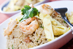 Shrimp fried rice. A plate of delicious shrimp fried rice Royalty Free Stock Photo