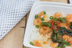 Shrimp Fried on rice Stock Images