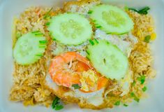 Shrimp fried rice,Asian fried rice. Royalty Free Stock Photo