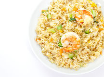 Shrimp fried rice. Asian food , Shrimp fried rice with vegetable on white background Stock Photo