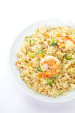 Shrimp fried rice. Asian food , Shrimp fried rice with vegetable on white background Royalty Free Stock Images