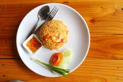 Shrimp fried rice, breakfast food on brown wooden background. Shrimp fried rice, breakfast food on brown wooden background Stock Image