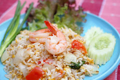 Shrimp fried rice. Close up shrimp fried rice on a blue plate Royalty Free Stock Photo