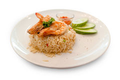 Shrimp Fried Rice. Delicious flavors , on white background Royalty Free Stock Photo